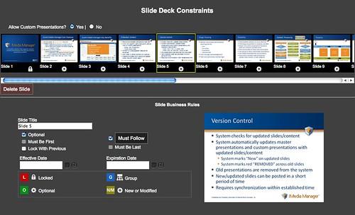 Avant Media Manager Administrator Web Site Screenshot: Setting Slide Presentation Constraints