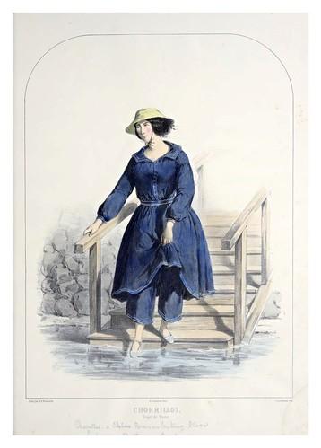 004- Chorrillos-Traje de baño-Recuerdos de Lima, álbum, tipos, trajes y costumbres Vol 2-1857-Bonaffé A.A.