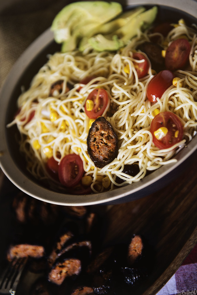 Summer Angel Hair Pasta Salad with Corn and Chorizo | PasstheSushi.com