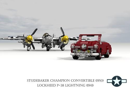 Lockheed P-38 Lightning (1941) and Studebaker Champion Convertible (1950)