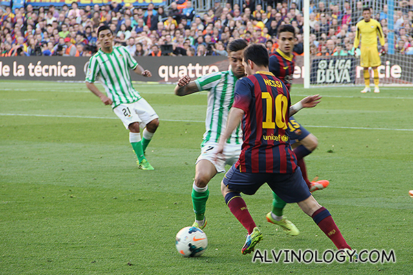 A tackle from Real Betis
