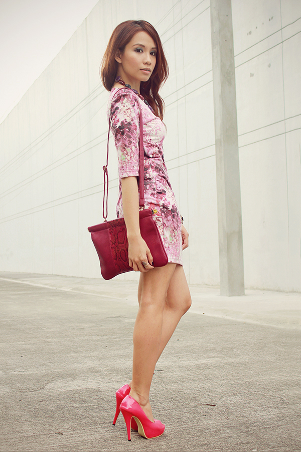 shai lagarde shailagarde love chic lovechic purple floral pink dress paint splatter corporate workwear pink peeptoe heels street style ootd fashion blogger philippines asian redhead contact lenses sm accessories disclosure concert tickets contest 6