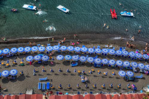 sea beach sand parasol sorrento sunbathing