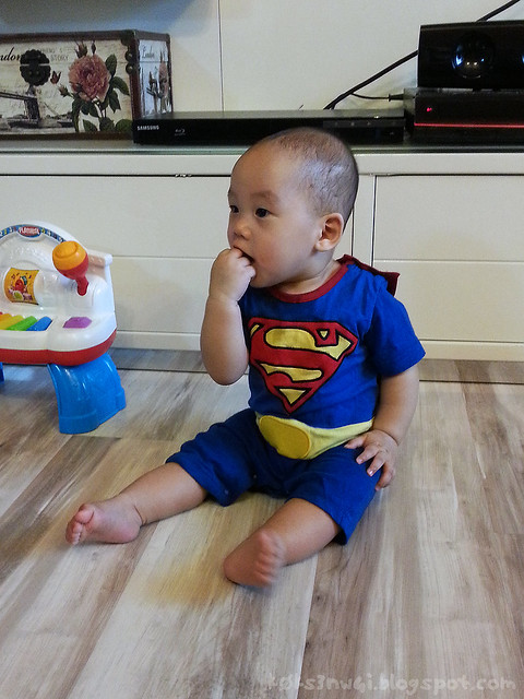 221 Days Old - Darwin in Superman Outfit