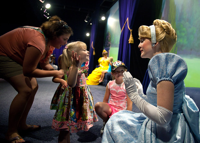 Audrey telling Cinderella that she loves her.