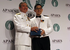 Adm. Harry B. Harris, Jr., left, commander of U.S. Pacific Fleet, stands with Lt.j.g. Jay Chen after Chen's introduction of Harris at the Asian Pacific American Institute of Congressional Studies (APAICS) 20th Annual Gala Awards Dinner, where he was awarded the organization's Lifetime Achievement Award. (U.S. Navy/Lt. Anthony Falvo)