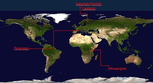 Mapa del món que mostra les regions on la Universitat de Portsmouth estudia el canvi climàtic en zones de muntanya: la Lapònia finesa i sueca, els Pirineus i el Kilimanjaro.