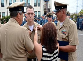 Two Generations of Sailors Participate in Frocking Ceremony at ATG San Diego