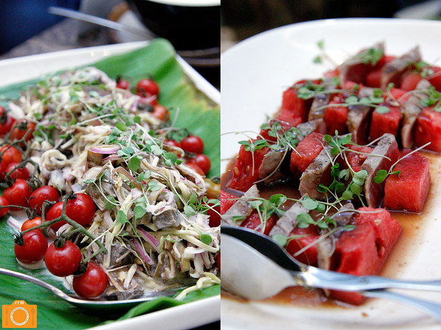 Luzviminda Ensaladang Puso ng Saging and Seared Tuna with Watermelon and Mangosteen Reduction