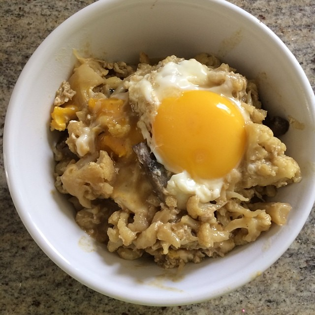 Day 27, #whole30 - lunch (leftover green curry with an egg on top)