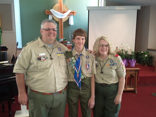 My wife Suzette and I with my first Cub Scout to earn Eagle