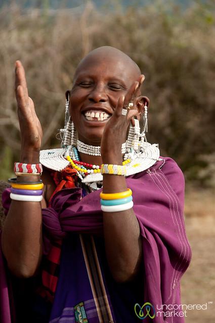 Masai Woman Laughing and Singing - Lake Manyara, Tanzania