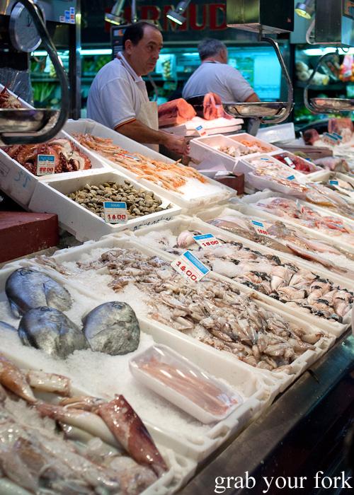 Seafood at a fishmonger in Mercado de la Cebada in Madrid, Spain