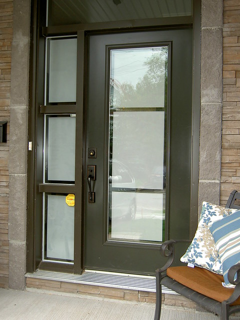 Front door and sidelight with privacy frosted film on glas for External door with window