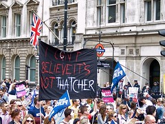 """I Can't Believe It's Not Thatcher"" - public sector march against pension cuts - London, 30 June 2011"
