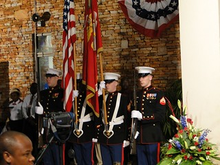 """U.S. Marines """"present the colors"""" at the event to celebrate the 235th anniversary of Independence."""