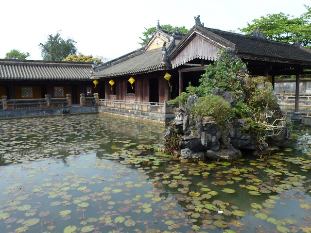 Temple with pond still in great condition