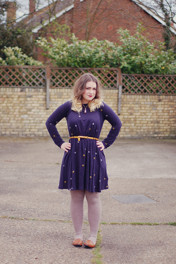 Wardrobeblock : Whistles spot navy dress next tan loafers h&m belt brown tights