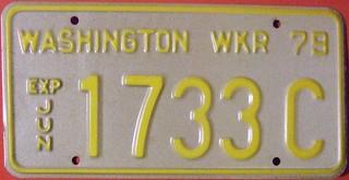 WASHINGTON 1979 ---WRECKER LICENSE PLATE, YELLOW ON GRAY