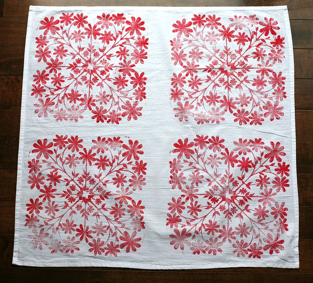 Red Block Printed Tea Towel