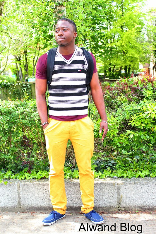 Men's yellow trousers & burgundy t-shirt: Street Style