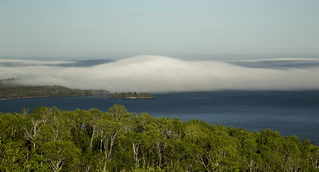 fog bank rolling in on Lake Superior