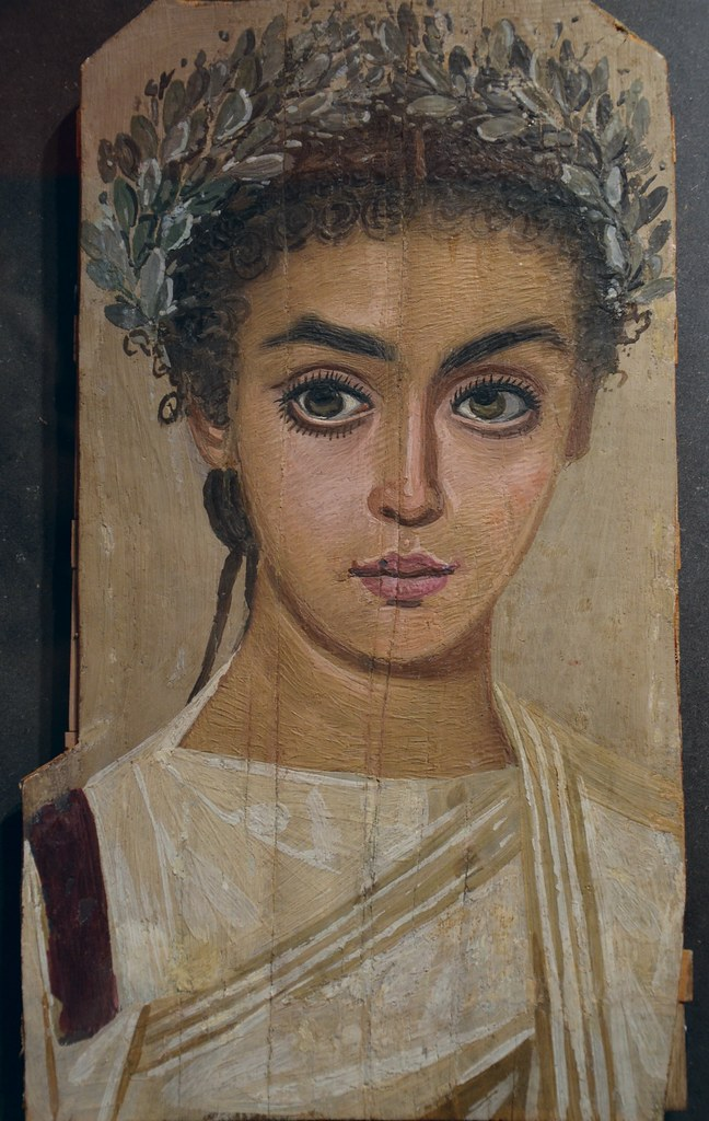 Mummy portrait of a girl, AD 120-150, Roman Egypt, wax encaustic painting on sycamore wood, Liebieghaus, Frankfurt am Main