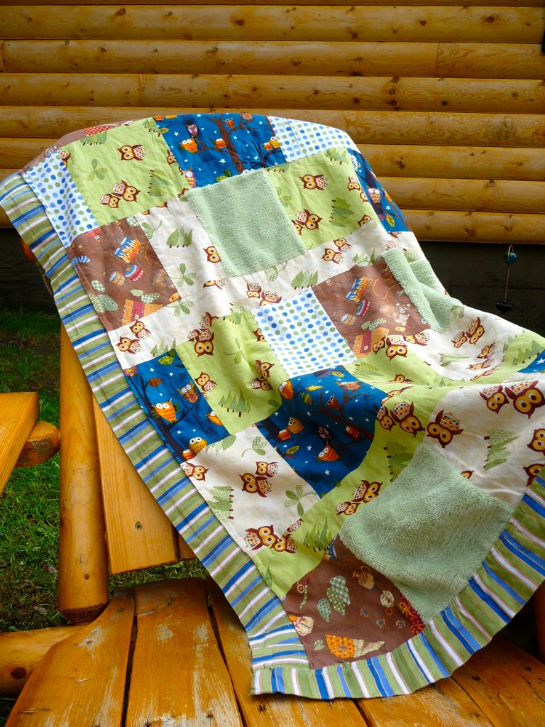 Minkee Backed Owl Blanket