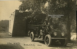 Fred Rose with fire truck undated