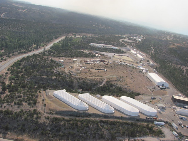 This photo from a helicopter survey on June 29 shows Los Alamos National Laboratory's Area G.  The Las Conchas Fire has not approached the site.