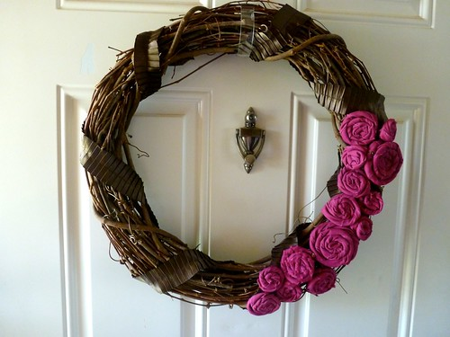 ...To spring wreath for our front door using leftover fabric from my living room redo