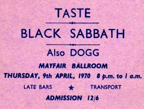 Taste Concert 1970 - Mayfair Ballroom  / Newcastle
