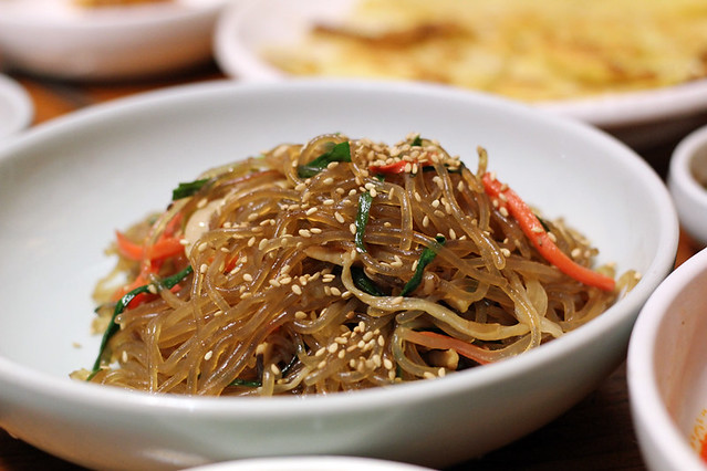 Japchae fried Korean noodles