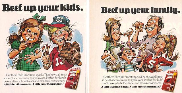 1970's Slim Jim Smoked Beef Snacks Magazine Ads Jack Davis