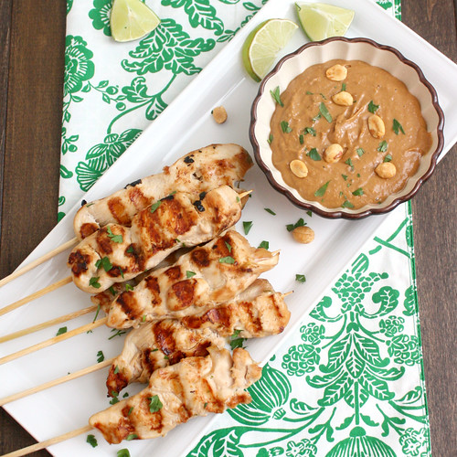 Chicken Saté with Spicy Peanut Dipping Sauce