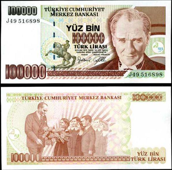 100 000 Lír Turecko 1997, Pick 206