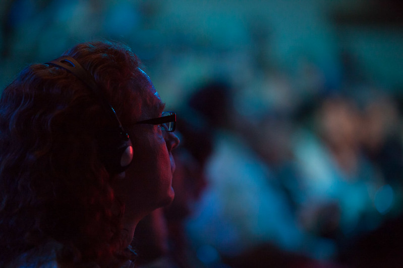 Christian Heilmann listening to translations at TEDxThessaloniki