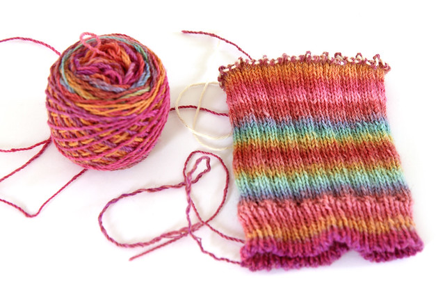 self-striping effect with hand spun yarn