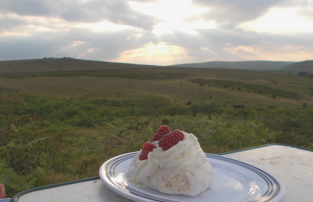 loganberry pavlova and a sunset