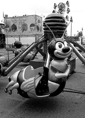bug ride in merry go roundbw