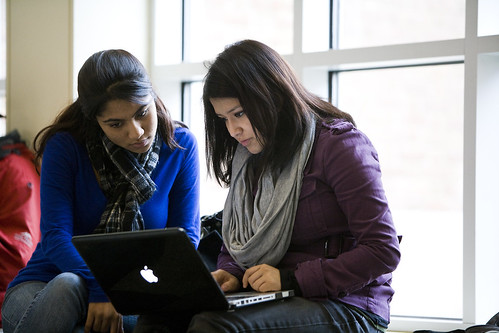 Two students study in the Bioscience Research Building