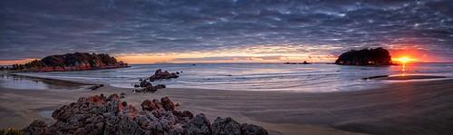 ocean morning red sea newzealand panorama sunlight seascape beach water rock sunrise island dawn sand waves cloudy shoreline olympus lee nz coastline nik e3 zuiko gitzo bayofplenty rrs 1260mm rrsbh40 gt2542l rrspanoelements