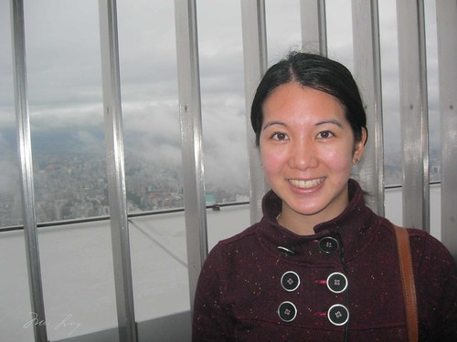 Mei on the outer observation deck at Taipei 101.