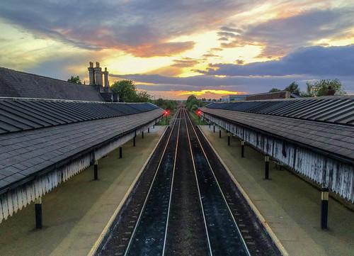 sunset clouds trainstation nottinghamshire iphone worksop 5s photomatix