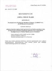 Referencje Gminy Chełm Śląski 2009r.