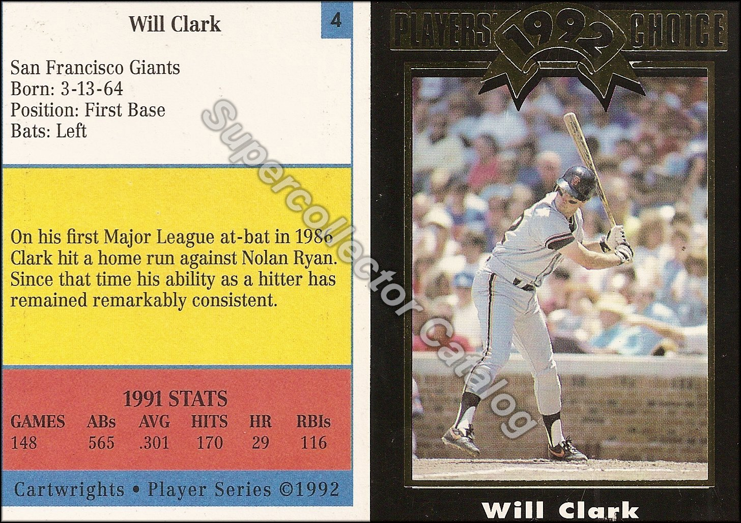 1992 Cartwrights Magazine Insert 'Players Choice Player Series' Black
