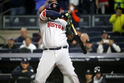 Red Sox DH David Ortiz takes a close pitch in the second inning.