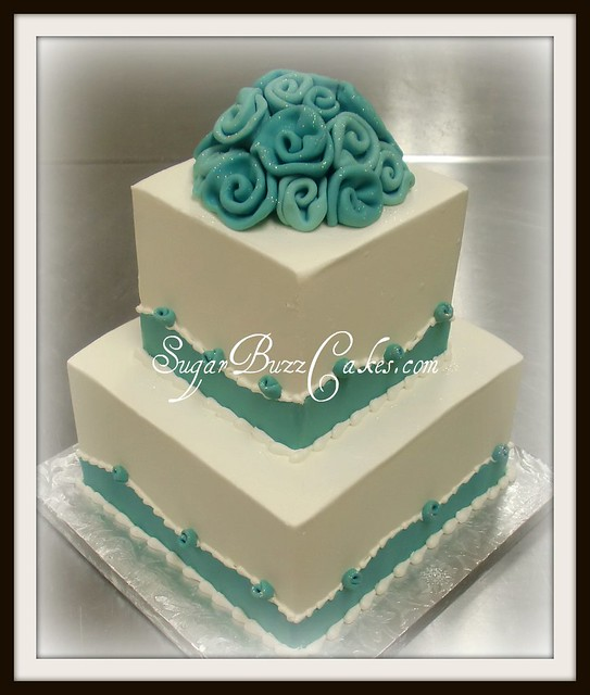 Teal silver wedding cake