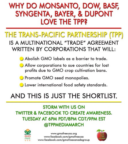 TPP loved by corporate GMO monopolies