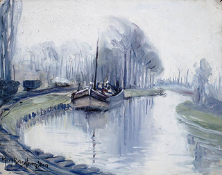 First Boat to Arrive at Arras after the Armistice / Le premier bateau qui accoste à Arras après l'Armistice